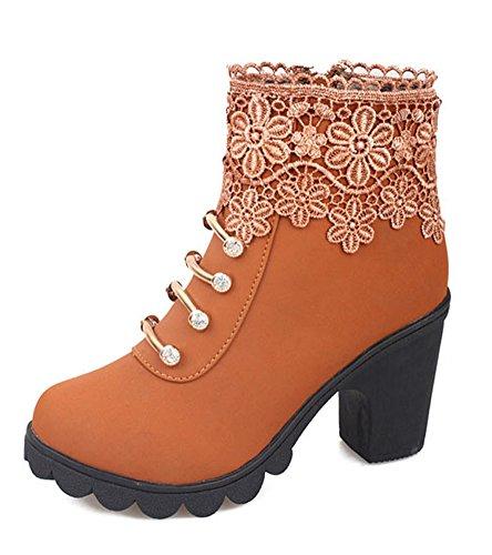 Minetom Damen Stylische Ankle Boots Kurzstiefel Elegant Hohen Absätzen Schuhe Reitstiefelette Martin Stiefel Mit Spitze Strasssteine Braun EU 39