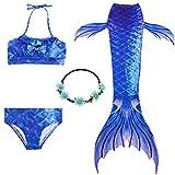 2XDEALS Costumi da Bagno Sirena Bambina Coda di Sirena per Nuotare Bikini 4pcs per Ragazze (11-12 Anni, Blu Scuro)