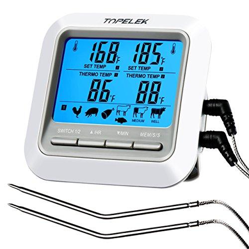 Fleischthermometer TOPELEK Bratenthermometer Grillthermometer 2 Sonden Haushaltsthermometer Temperatur Voreinstellung, Countdown Timer, Instant Read-Out, Magnetische Montagedesign für Küche, Grill