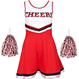 Ladies Cheerleader Fancy Dress Outfit Uniform with Pom Poms Halloween Costume American High School Musical Sports Available in Sizes 6-16 and 6 Colours (Ladies 10-12 UK, Red)
