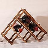 Rrimin Foldable Wood Wine Rack Wine Holder Storage Wine Display Stand Bottle Rack (6 Bottle)