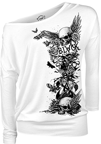 Black Premium by EMP Arising Skull Manica lunga donna bianco M