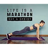 Motivations Wandtattoo Life is a Marathon not a Sprint, Sport Wandaufkleber, Wandsticker in drei Größen für Fitness Raum