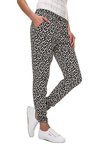 Hailys Damen Sommerhose Freizeithose Comfort Fit Strandhose Print (L, Black/Print 1)