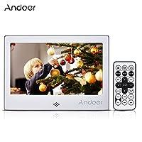 Andoer 7 بوصة LED إطار صورة رقمية 720P فيديو/موسيقي/تقويم/ساعة/مشغل XT 1024 * 600 إطار معدني بدقة مع جهاز تحكم عن بعد