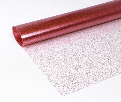 Transparente Folie Glitter Metallic Tischdecke Tischschutz Rund Oval Eckig, FARBE und Größe wählbar, (Eckig 140x360 cm Transparent Rot)