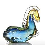 Tooarts Moderne Skulptur Glasskulptur Designer Skulptur Deko Skulptur aus Glas Blaues Fantastisches Pferd