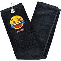 Emoji-Unisex Weinen mit Lachen Golf Handtuch, Schwarz