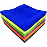 Softspun Microfiber Car Cleaning, Detailing & Polishing Cloth 340 Gsm, 40X40Cm, Multicolor, Set Of 4