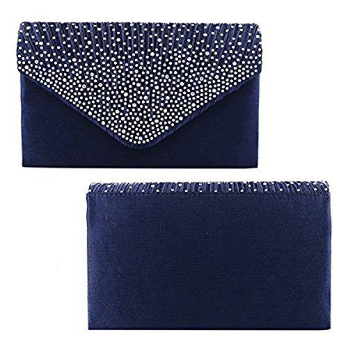 Pochette da sera con chiusura a busta, con strass, effetto satinato (rosso) Blu marino