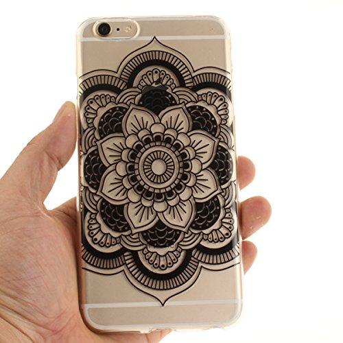 Felfy iphone 6S Plus Silikone Case,iphone 6 Plus Hülle,iphone 6s Plus Schutzhülle Ultra Dünnen Weiche Gel TPU Silikone Transparent Schutzhülle Bumper Case Handy Tasche Hülle für Apple iPhone 6 Plus/6S Schwarze Sonnenblume