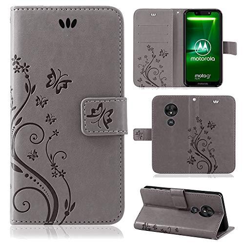 betterfon | Motorola Moto G7 Play Hülle Flower Case Handytasche Schutzhülle Blumen Klapptasche Handyhülle Handy Schale für Motorola Moto G7 Play Grau