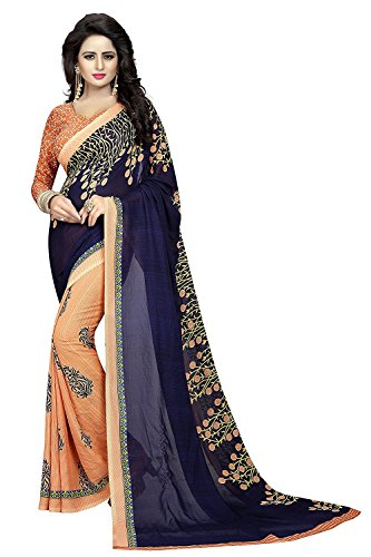 PRAMUKH STORE for women party wear Designer Today best offers buy online in Low Price Sale Cream & (Beige) Navy Blue Color Chiffon Fabric Free Size Ladies Sari Blouse Latest New Collection Exclusive Designer Style Exotic Indian Fancy Fashion Ethnic Georgette Wedding/Party Wear Saree with Unstitched Blouse For Women/Girls  available at amazon for Rs.490