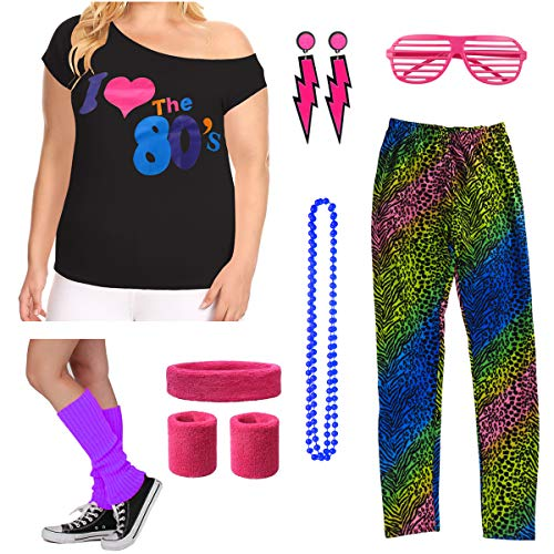 Sexy Kostüm Diva Disco - 8IGHTEEN COSTUME Plus Size Damen I Love The 80's Disco Kostüm Outfit Zubehör Set (L/1X, Leopard)