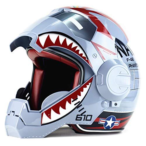 wthfwm Casco Moto Iron Man Marvel Casco Moto Anti-collisione Marvel Motocross Full Face Protezione di Sicurezza per Adulti Avengers,Grey-M