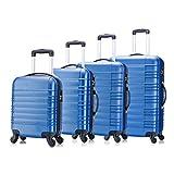 4 teiliges Koffer Set von Jalano Reisekofferset ineinander stapelbar Gepäck-Set Koffer Trolley Hartschale, Farbe: blau