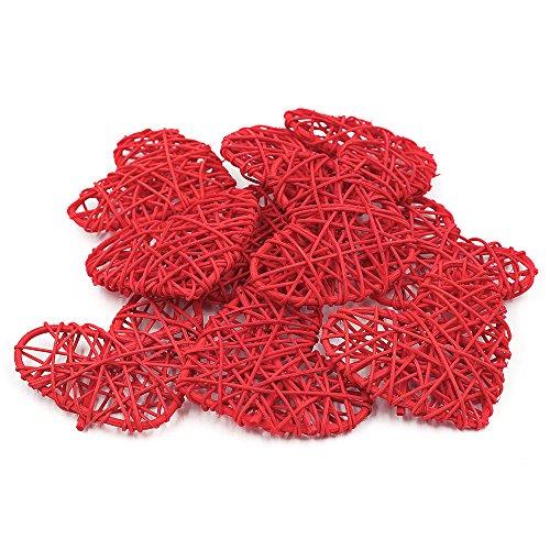 Cuori in rattan naturale, per feste di compleanno, di natale, feste in casa, feste di nozze e matrimonio, decorazioni, ornamenti da 7cm, 20 pezzi per confezione, red, 7 cm