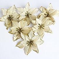 Navidad Flores Artificiales Planta de Follaje Falso para la Cocina Casera Garland Garden Office Pared de la Boda Decoración del Festival de Xmas Ornamento (Flor de Navidad Oro)