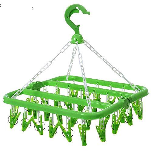 GANZAO Faltbarer Plastikaufhänger, mit Wäscheleine-Wäscheständer mit 32 Klammern, winddichter Haken-Entwurfs-Unterwäsche trifft Hut-Regal-Härte bequem und flexibel hart (Flexible : 33 * 32 * 25cm) (über Der Tür Ein Regal Klammern)