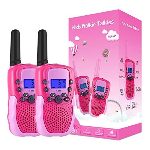 Kearui Spielzeug 3-12 Jahren für mädchen, Walkie Talkies für Kinder 8 Kanal Funkgerät mit Hintergrundbeleuchteter LCD-Taschenlampe, 3 Meilen Reichweite für Abenteuer im Freien, Camping, Wandern