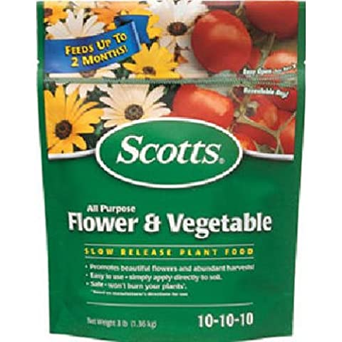 SCOTTS MIRACLE GRO - Slow Release All-Purpose Flower & Vegetable Food, 10-10-10, 3-Lb.