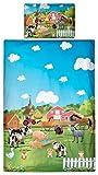 Aminata Kids Kinder-Bettwäsche Bauernhof Wald-Tiere Pferd 100x135 cm Jungs hell-blau grün-e Wolke-n Baumwolle Reissverschluss süß-e