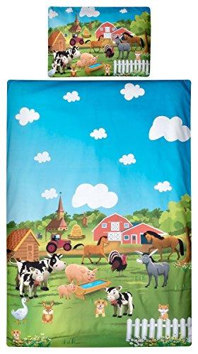 Aminata Kids Kinder-Bettwäsche 100-x-135 cm Bauernhof Bauer Tier-e Pferd-e Traktor Trecker Baby-Bettwäsche 100-% Baumwolle Renforce rot-er hell-blau Mädchen und Junge-n