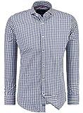 Barbons Trachen Herren Hemd -Kariert- Karohemd- Modern - Fit - Hemden für Freizeit, Party Business und Oktoberfest (XL, Gespreizter Kragen - Dunkel Blau)