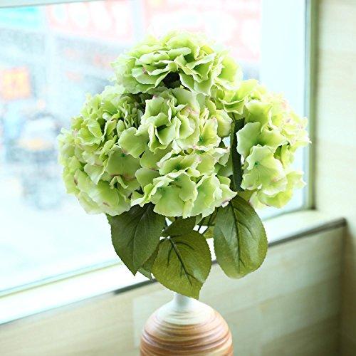 Soledì- 1 Mazzo di 5 Fiori Artificiali Ortensia, Fioritura in Seta, Bouquet Decorazione per Sposina Cerimonia Matrimonio Casa (Verde)