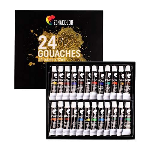 Zenacolor - Peinture Gouache en Tube - Coffret de 24 Couleurs, Haute Qualité, Tous Supports pour Débutants et Artistes - Loisir Créatif (24 x 12ml)