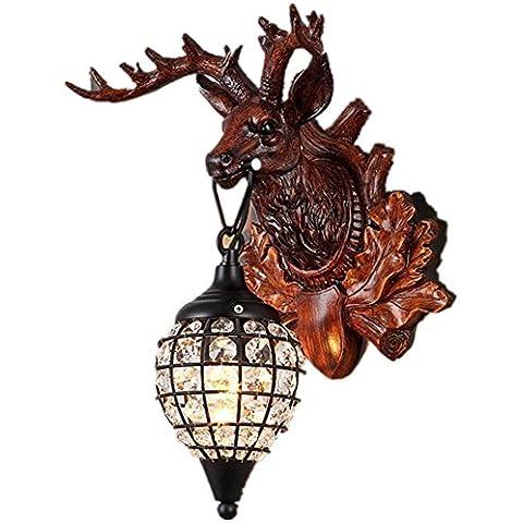 FWEF cristallo resina metallo pulsante parete lampada luce cervo creativo personalizzato ristorante Cafe Bar salotto camera da letto Retro illuminazione 55 * 35cm , dw-b0707-1s s - Carving Capo