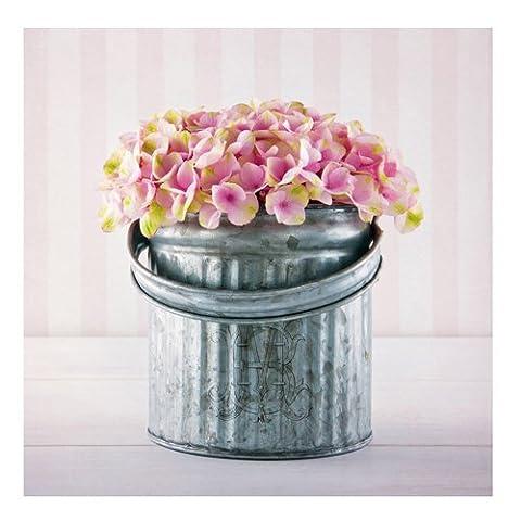 Toile imprimée Fleurs - 16 x 16 cm. - Seau gris et fleurs roses