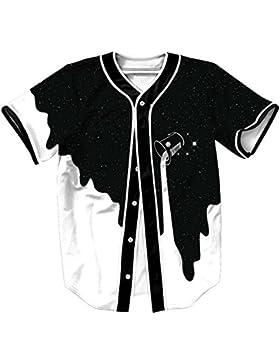 Unisex 3D Impreso Verano Casual Camiseta de Manga Corta Tees Camiseta de Béisbol Hip Hop Tops