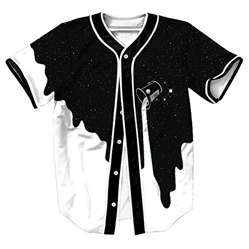Camiseta Hombre 3D Impreso Verano Casual Camiseta de béisbol de manga corta Hip Hop Tops (Blanco negro, XX-Large)