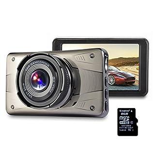 Dash Cam FHD 1080P,Auto DVR Armaturenbrett Kamera,Autokamera 3'' LCD 170° Weitwinkelobjektiv,G-Sensor,Nachtsicht,24H Überwachung,Loop Aufnahme(8GB SD-Karte inklusive)