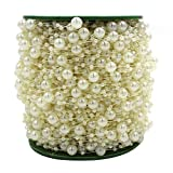 ICTRONIX 60m/Roll Guirlande Perle Acrylique Collier chaîne Bobine Perles Fleurs Wedding Party Decoration (Ivoire)