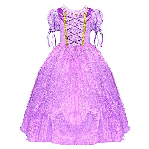 HAWEE Rapunzel Kleid Prinzessin Kleid Mädchen Kleider Sommer Festlich Hochzeit Kostüm (4-5 Jahre/130cm)
