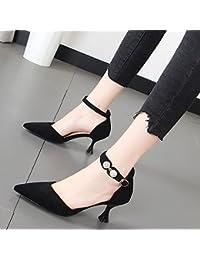 Xue Qiqi Ranuras para las mujeres de alto talón zapatos con punta fina singles femeninos zapatos banquete boca...