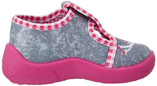 Fischer Mini, Chaussons pour enfant bébé fille Grau (jeansgrau)