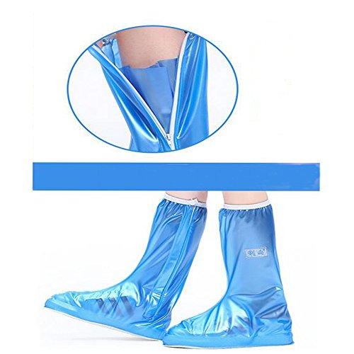 Regenüberschuhe Wasserdicht Schuh (1Paar), Nasalmate Flache Regen Überschuhe Schuhüberzieher Rutschfestem Regenüberschuhe optimal vor Nässe, Schnee und Matsch Blau