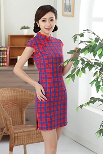 Bigood Cheongsam Chinois Femme Robe Classique Manche Courte Carreaux Rouge