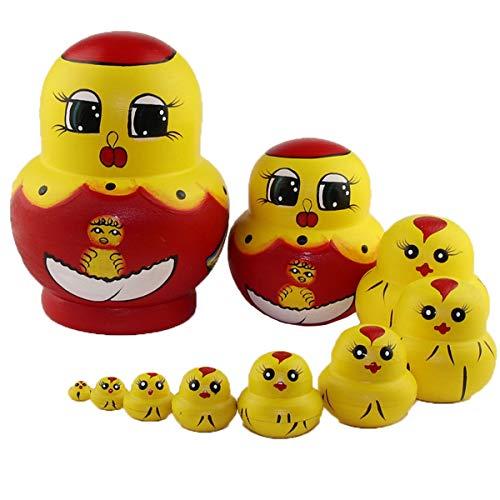 Konrisa matrioske russa bambole nidificazion legno marionette forma animale pulcino bambole impilabili fatte a mano costruzione giocattolo per bambini decorazione domestica articoli feste,set di 10