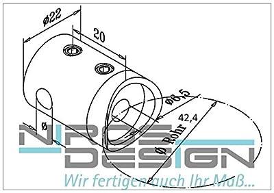 Querstabhalter, Edelstahl AISI304, D42,4/d12mm von NIROS Design - Du und dein Garten
