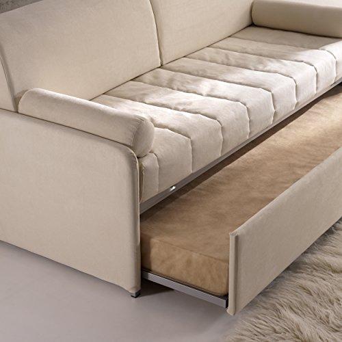 Divano letto Rondò con rete estraibile, robusto e pratico, rivestimento antimacchia grigio ...