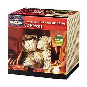 Carcoa Fuego 0326 Pastillas de Lana de Leña FSC 100%, 1 Paquete de 32 Piezas, Rojo, 14×14.3×12.5 cm