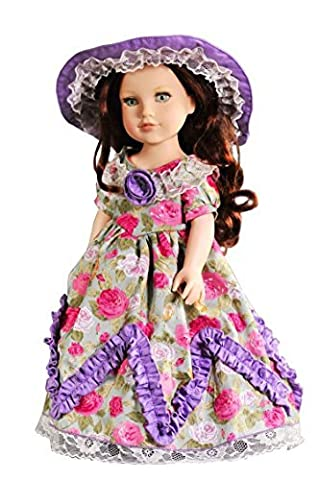 AOFUL Doll Clothes For American Girl Vintage Handmade Party Dress Skirt 18 Doll Clothes (Purple/Rose) by AOFUL