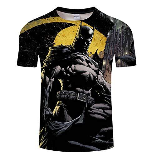 T-Shirt Sport Herren Marvel Movie Batman T-Shirt 3D Digitaldruck Rundhals Atmungsaktiv Kurzarm Blue B-XXXXXL - Besten Freund Adult T-shirt
