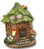 17,8cm Darling Little erleuchtet Kunstharz Garten GNOME Haus ~ batteriebetrieben 7' Green Leaves Roof