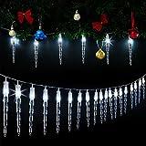 Monzana 80 LED Lichterkette Eiszapfen I Kaltweiß I Für Innen & Außen I Länge 14m I Stecker - Weihnachtsdekoration Weihnachtsbeleuchtung Weihnachten Fenster Outdoor Deko