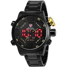 SHARK SH107-Orologio da polso uomo,Acciaio INOX,Digitale LED Datario/Sveglia,Analogico Sportivo Quarzo,colore:Nero
